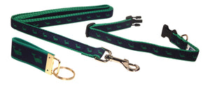 "Preston Ribbons ""Green Whale on Navy"" Collar and Leash, SMALL Dogs, FREE Matching Key Ring"