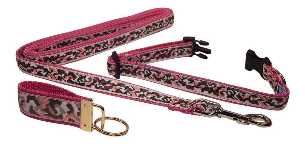 "Preston Ribbons ""Pink Camo"" Collar and Leash, SMALL Dogs, FREE Matching Key Ring"