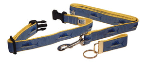 "Preston Ribbons ""Sailfish"" Collar and Leash, MEDIUM/LARGE Dogs, FREE Matching Key Ring"