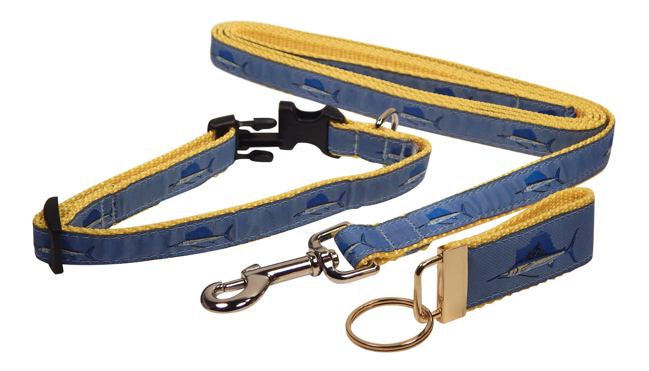 "Preston Ribbons ""Sailfish"" Collar and Leash, SMALL Dogs, FREE Matching Key Ring"