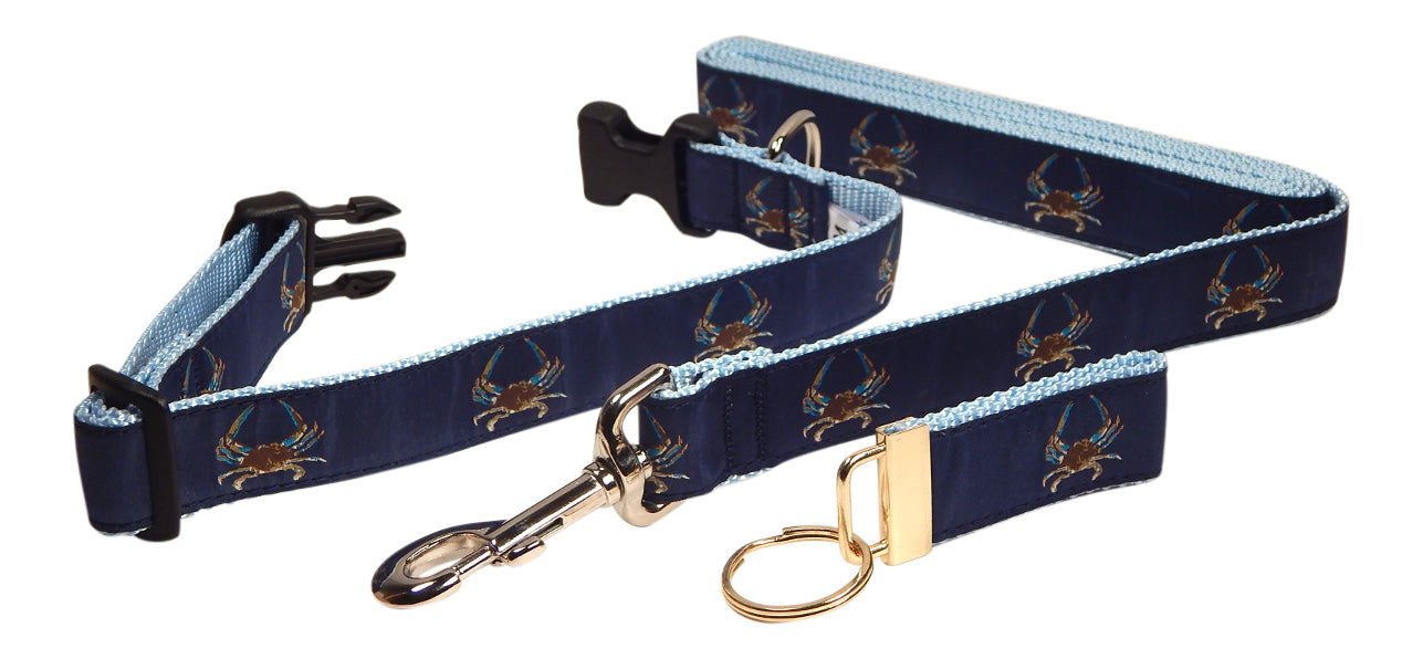 "Preston Ribbons ""Maryland Blue Crab"" Collar and Leash, MEDIUM/LARGE Dogs, FREE Matching Key Ring"