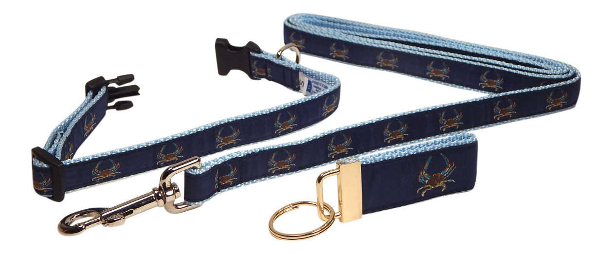 "Preston Ribbons ""Maryland Blue Crab"" Collar and Leash, SMALL Dogs, FREE Matching Key Ring"