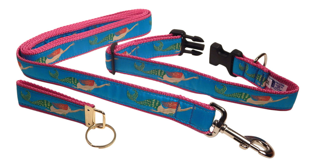 "Preston Ribbons ""Mermaid"" Collar and Leash, MEDIUM/LARGE Dogs, FREE Matching Key Ring"