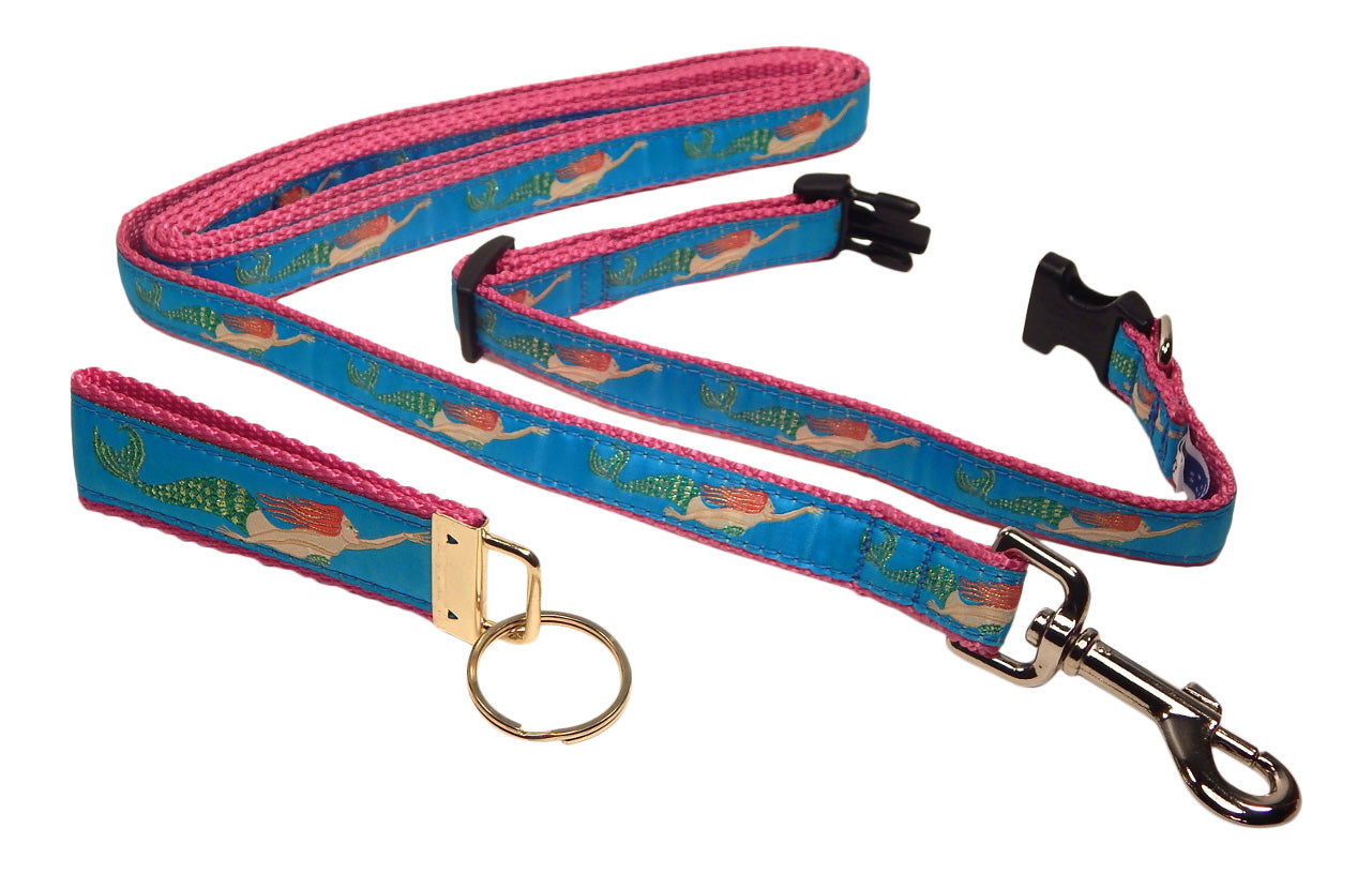 "Preston Ribbons ""Mermaid"" Collar and Leash, SMALL Dogs, FREE Matching Key Ring"