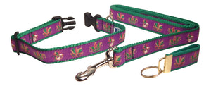 "Preston Ribbons ""Glittery Mardi Gras Masks"" Collar and Leash, MEDIUM/LARGE Dogs, FREE Matching Key Ring"