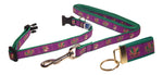"Preston Ribbons ""Glittery Mardi Gras Masks"" Collar and Leash, SMALL Dogs, FREE Matching Key Ring"