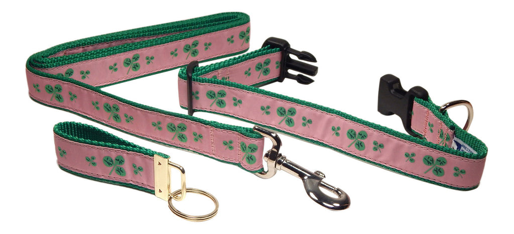 "Preston Ribbons ""Shamrocks on Pink"" Collar and Leash, MEDIUM/LARGE Dogs, FREE Matching Key Ring"