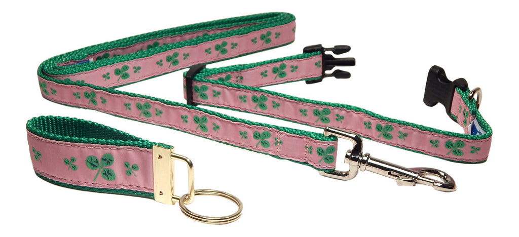 "Preston Ribbons ""Shamrocks on Pink"" Collar and Leash, SMALL Dogs, FREE Matching Key Ring"