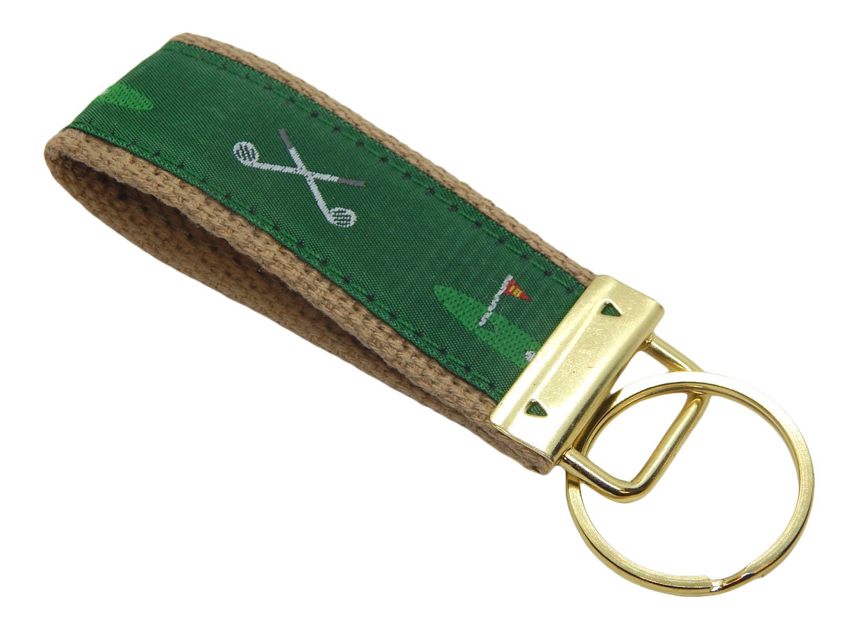 Preston Golf Clubs/18th Hole Classic Ribbon Key Ring, Khaki Cotton Web