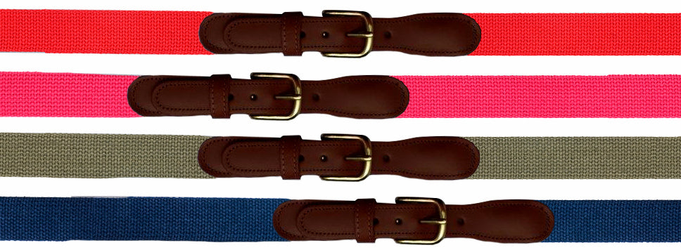 Plain Old Web Belt (No Ribbon)<br>Red, Raspberry, Olive Green, Navy<br>by Preston Leather