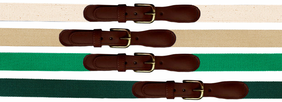 Plain Old Web Belt (No Ribbon)<br>Natural, Khaki, Kelly Green, Forest Green<br>by Preston Leather
