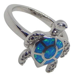 Sterling SilverTurtle Blue Lab Opal Ring
