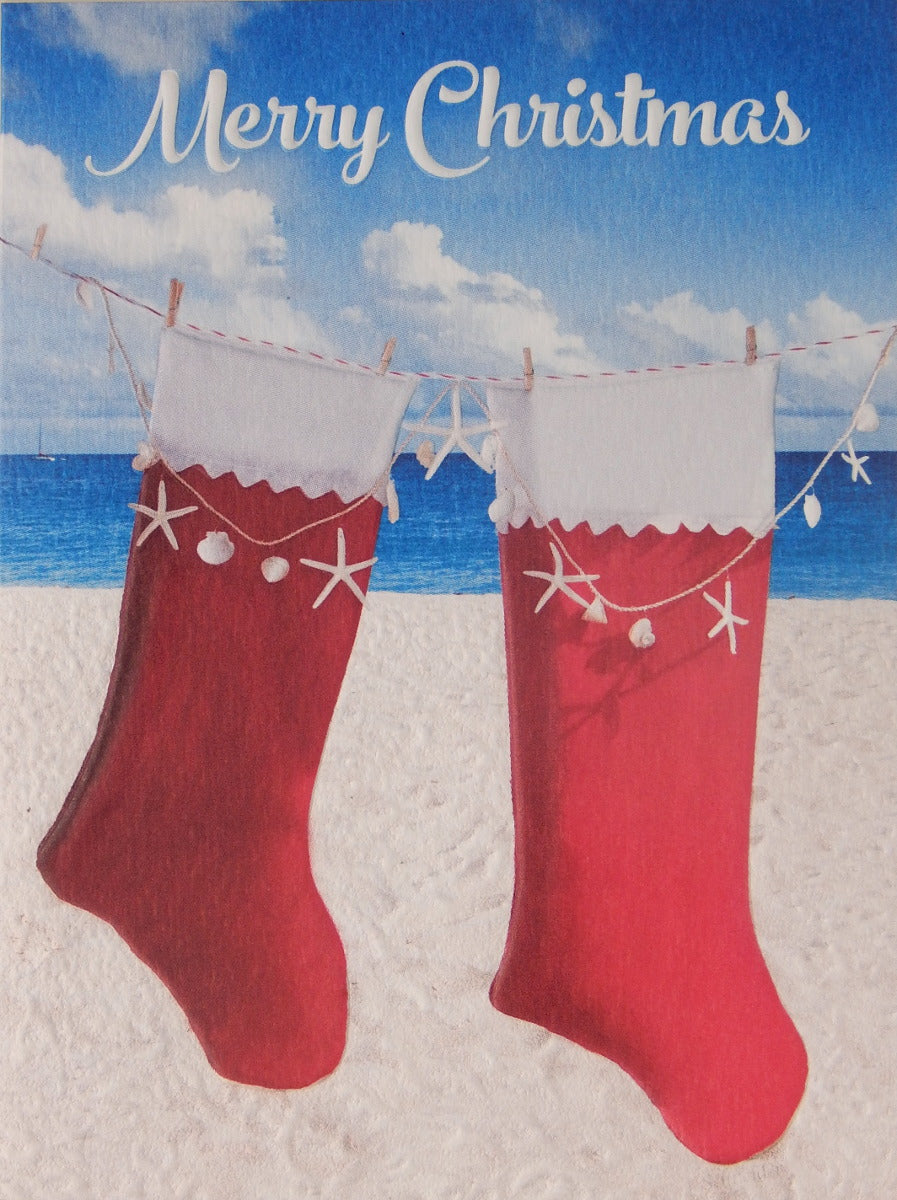 """Merry Christmas""<br>Nautical Christmas Cards (#1026)<br><font color=""red""><b>SMALLER CARD</b></font><br>Embossed by Pumpernickel Press"