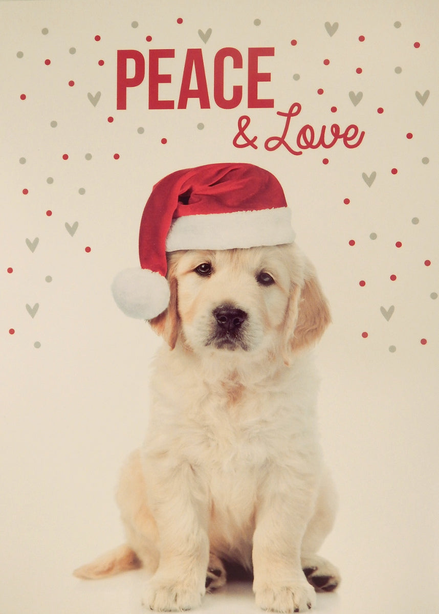 """Peace & Love""<br>Dog Christmas Cards (#1071)<br>by Masterpiece Studios"