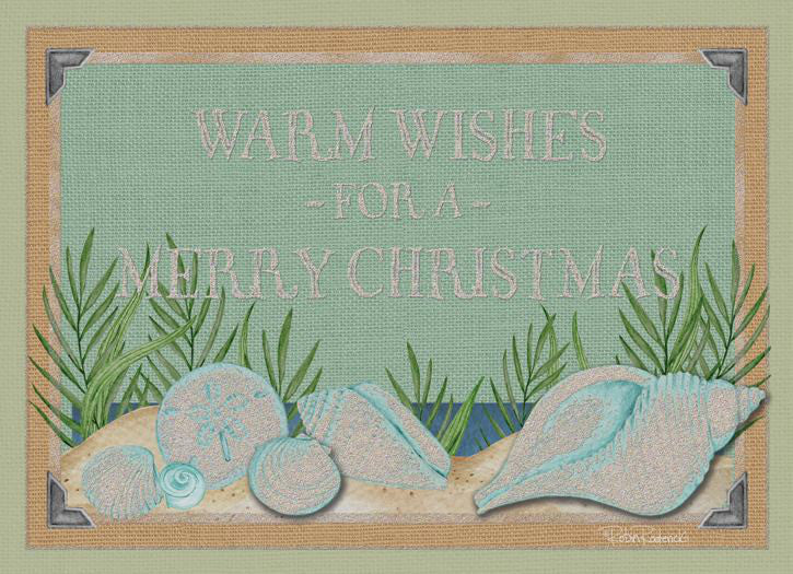 """Warm Wishes for a Merry Christmas""<br>Nautical Christmas Cards (#1113)<br>Hand-Embellished Collection<br>by LPG Greetings"