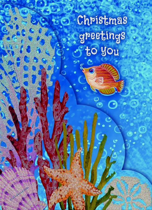 """Christmas Greetings to You""<br>Nautical Christmas Cards (#1116)<br>Embellished Coupure Cutouts<br>by LPG Greetings"
