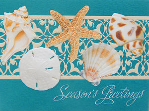 """Season's Greetings""<br>Nautical Christmas Cards (#1144)<br><font color=""red""><b>SMALLER CARD</b></font><br>Embossed by Pumpernickel Press"