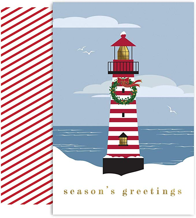 """Season's Greetings""<br>Lighthouse Christmas Cards (#1187)<br><font color=""red""><b>SMALLER CARD</b></font><br>by Masterpiece Studios"