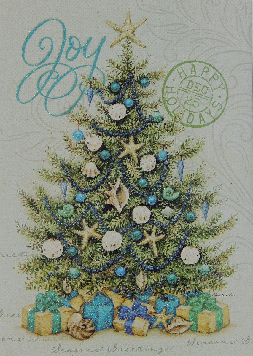 """Joy""<br>Nautical Christmas Cards (#1243)<br>Deluxe Glitter<br>NEW! by LPG Greetings"