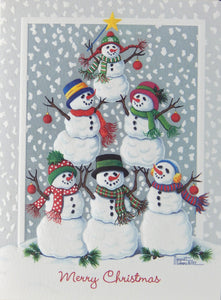 """Merry Christmas""<br>Snowman Christmas Cards (#1244)<br><font color=""red""><b>SMALLER CARD</b></font><br>Embossed by Pumpernickel Press"