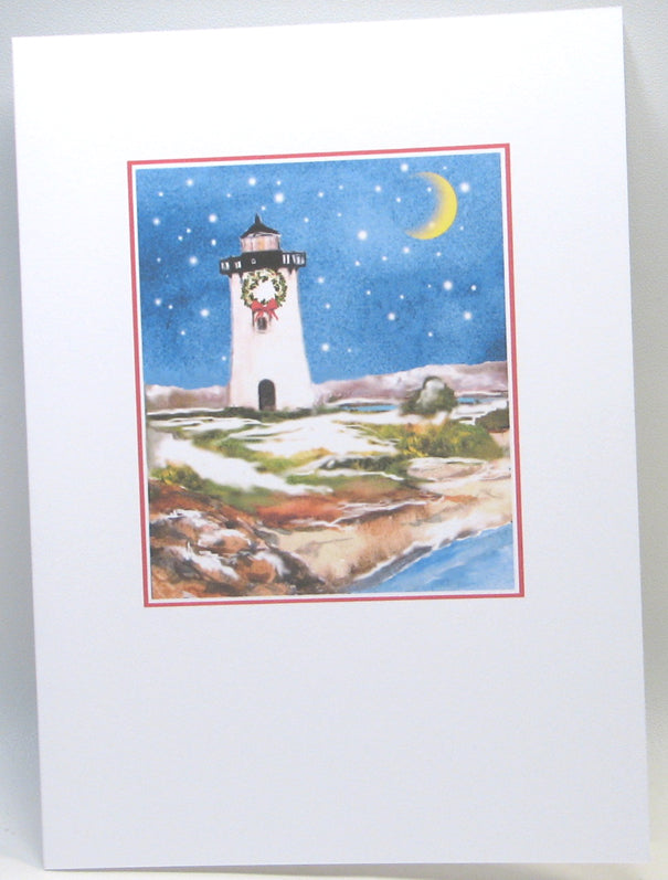 "Lighthouse Christmas Cards (#546)<br><font color=""red""><b>SMALLER CARD</b></font><br>by Shirley Bell"
