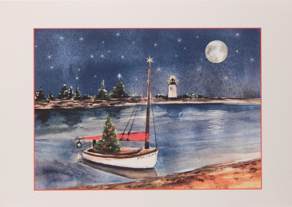 "Lighthouse Christmas Cards (#882)<br><font color=""red""><b>SMALLER CARD</b></font><br>by Shirley Bell"
