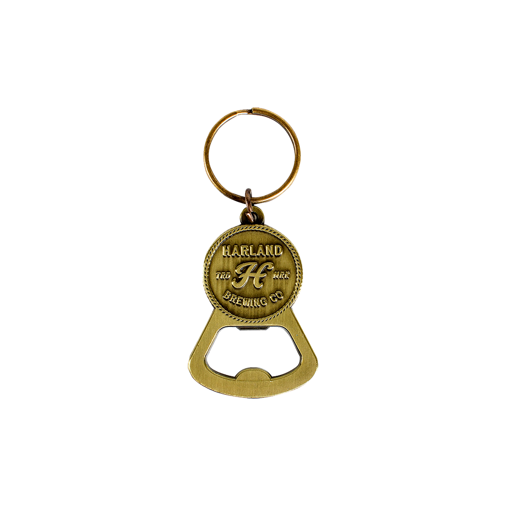 Bottle Opener Keychain Antique Gold | Harland Beer