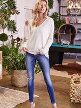 Load image into Gallery viewer, Taupe High Low V-Neck Sweater