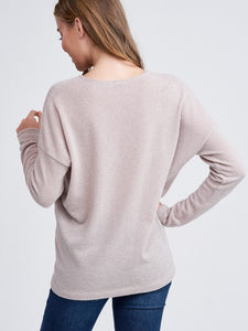 Taupe High Low V-Neck Sweater
