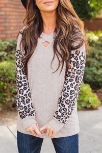 Criss-Cross Leopard Sleeve Top