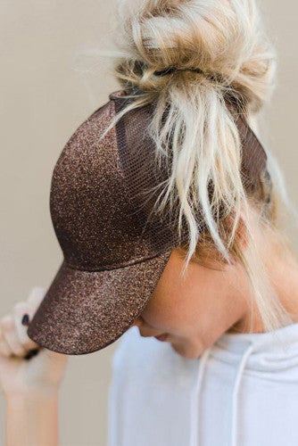 Brown Glitter Cap