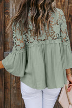 Load image into Gallery viewer, Green Crocheted Lace Top