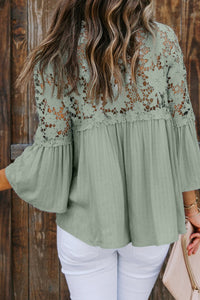 Green Crocheted Lace Top