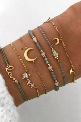 Moon and Star Bracelet Set