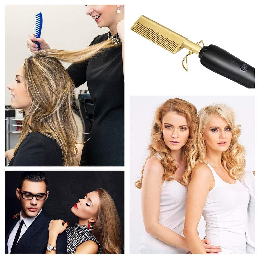 2 in 1 Hot Comb Hair Straightener Wand & Hair Curler V2.0 - Mebazo