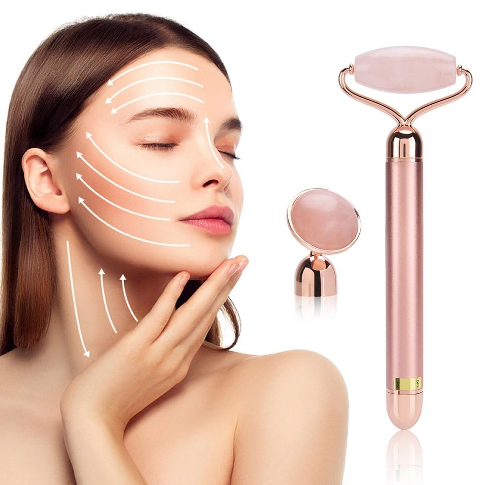 2 Head Rose Electric Derma Facial Jade Roller - Mebazo