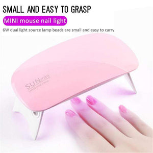 Portable 6W Nail Dryer Machine 6 LED UV Lamp - Mebazo