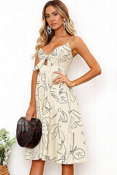 lezeda.com DRESS Apricot / S Backless Printed Bow Strap Dress