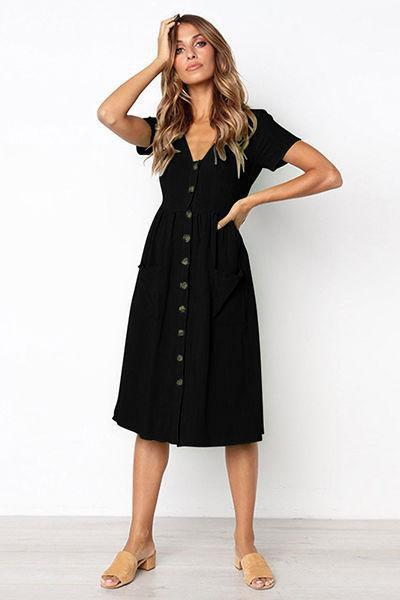 235389dac956 lezeda.com DRESS BLACK / M V-neck Button Pocket Short Sleeve Dress