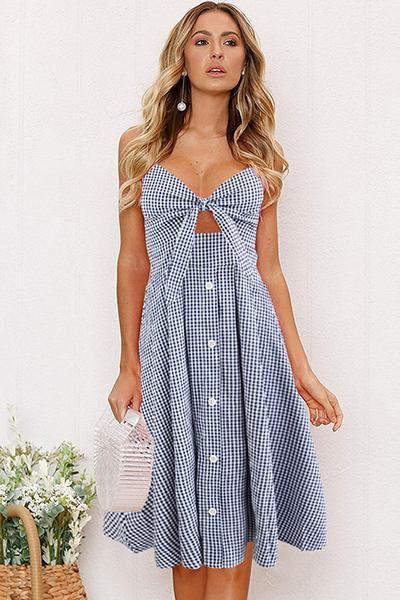 lezeda.com DRESS Blue / S Backless Printed Bow Strap Dress