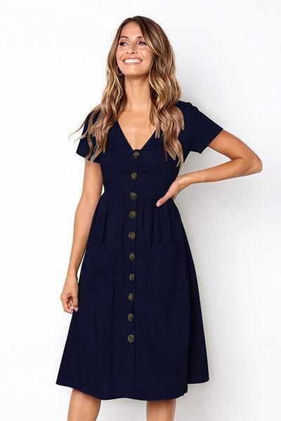 c058e37fa972 lezeda.com DRESS DARK BLUE / M V-neck Button Pocket Short Sleeve Dress