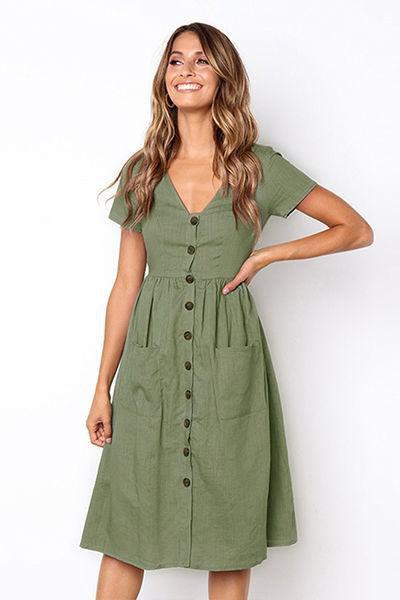 86afe1253312 lezeda.com DRESS GREEN / M V-neck Button Pocket Short Sleeve Dress