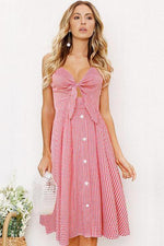 lezeda.com DRESS Pink / S Backless Printed Bow Strap Dress