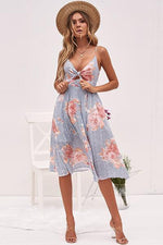 lezeda.com DRESS Pink stripe / S Backless Printed Bow Strap Dress