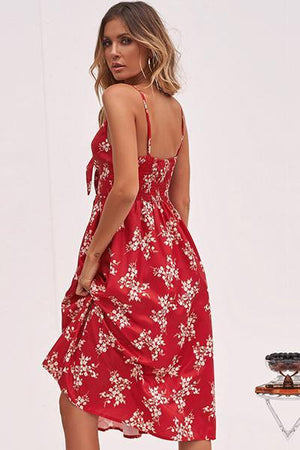 lezeda.com DRESS Red / S Backless Printed Bow Strap Dress