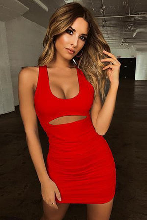 lezeda.com DRESS Red / S Sexy Pleated Straps Dress
