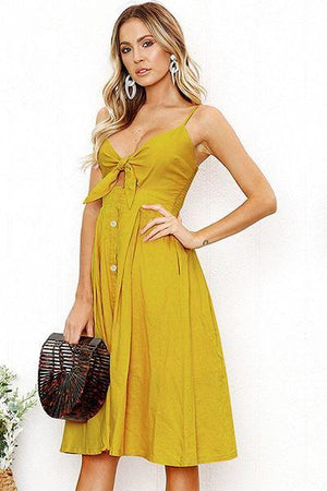 lezeda.com DRESS Yellow / S Backless Printed Bow Strap Dress