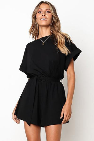 lezeda.com Jumpsuit Black / S Solid Short Sleeve Jumpsuit