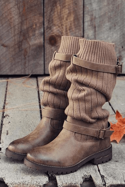 lezeda.com Shoes & Accessories Brown / 35 Woman Vintage PU Paneled Casual Boots