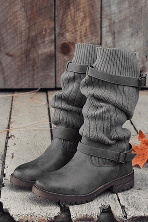 lezeda.com Shoes & Accessories Grey / 35 Woman Vintage PU Paneled Casual Boots